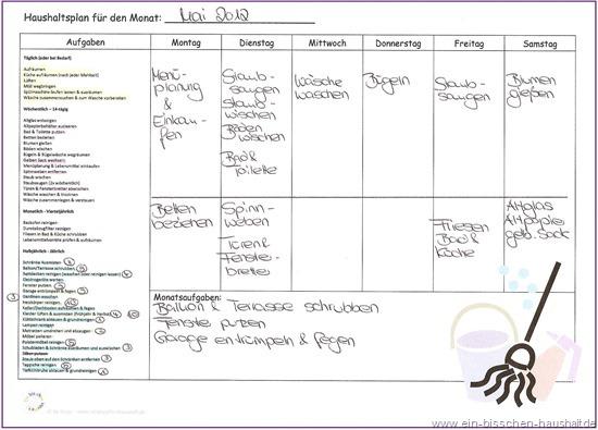 Putzplan für paare